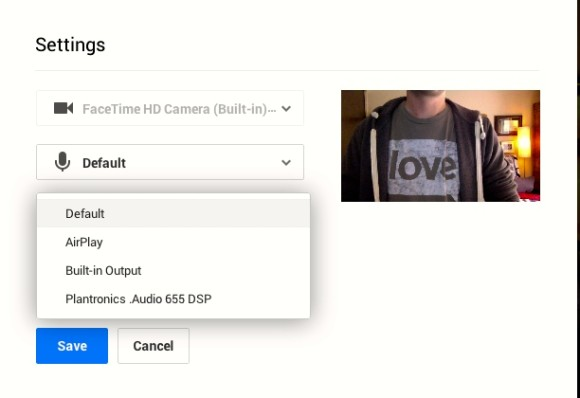 Choose Audio Video Within Hangouts